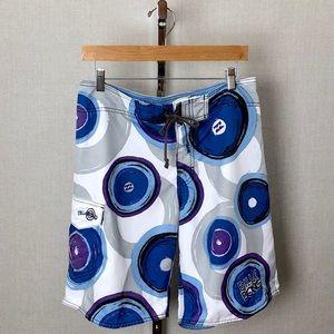 BILLABONG Mens Blue Purple WhiteDisc Board Shorts